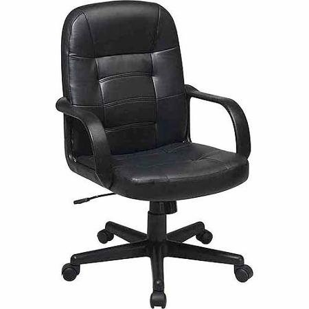 (Office Star Worksmart Leather Mid-Back Office Chair, Black)