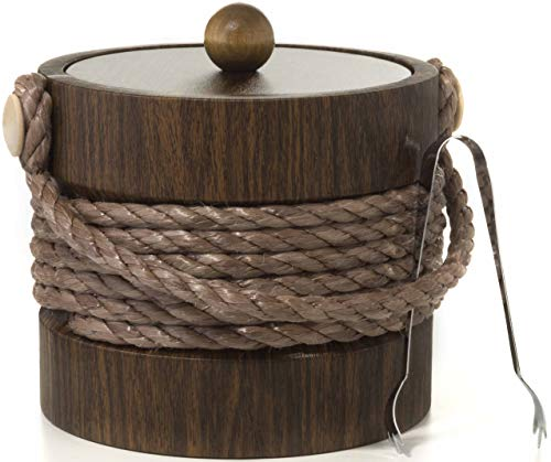 (Hand Made In USA Walnut Grain With Rope Handle Double Walled 3-Quart Insulated Ice Bucket With Bonus Ice Tongs)