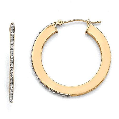 Boucles d'oreilles créoles or jaune 14carats Diamant Fascination Plat Rond