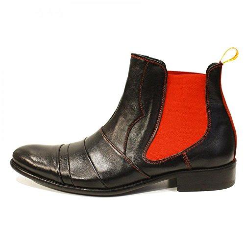 Modello Loretto - Cuero Italiano Hecho A Mano Hombre Piel Rojo Chelsea Botas Botines - Cuero Cuero Suave - Ponerse