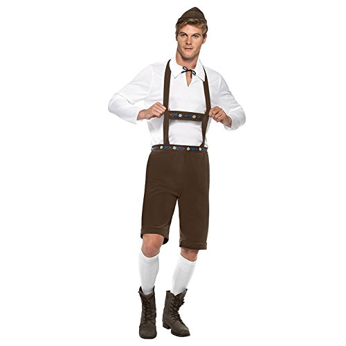 Smiffy's Men's Bavarian Man Costume, Lederhosen Shorts, suspenders, Top and Hat, Around the World, Serious Fun, Size L, 30286