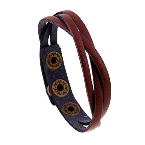 Willsa Men Women New PU Leather Wrap Braided Wristband Cuff Punk Bracelet Bangle (Light (Double Row Engraved Band)