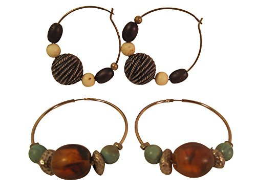 Trifari Pierced Earrings - Casual Hoop Earrings with Beads, Set of Two, 1 1/2 Inches (Pierced Ears)