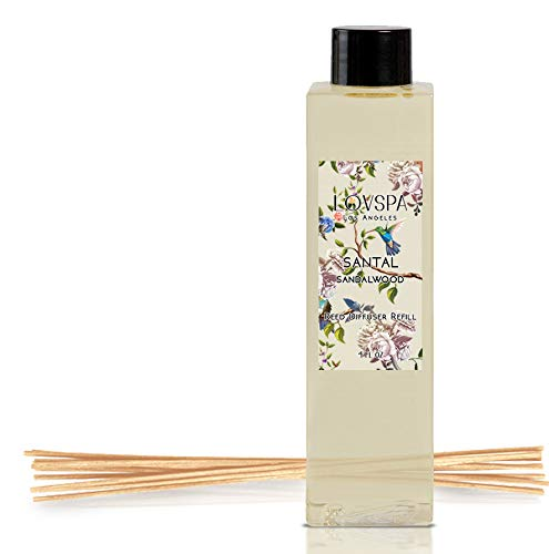 LOVSPA Santal (Sandalwood) Reed Diffuser Oil Refill with Replacement Reed Sticks, 4 Ounces | A Warm, Earthy & Woody Aroma | Made with Essential Oils | Made in The USA