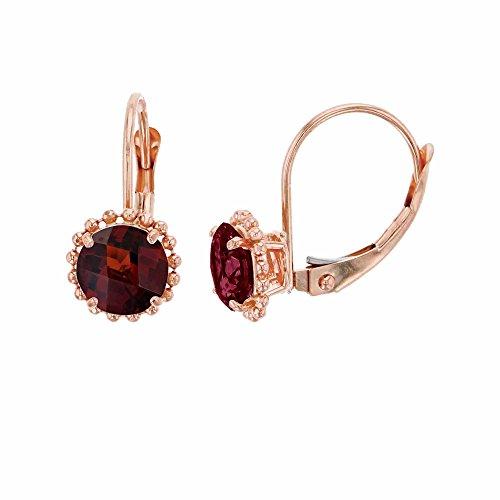 (10K Rose Gold 6mm Round Garnet Center Stone Bead Frame Leverback Earring)