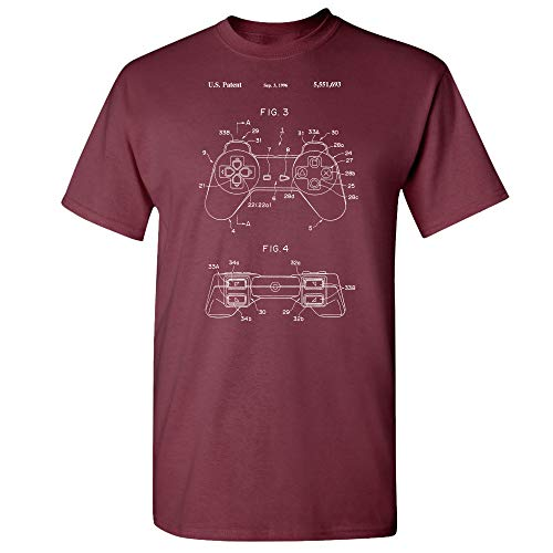 Playstation PS1 Controller Patent T-Shirt, Retro Gamer Gift, DualShock, Controller Schematic, Playstation Classic Maroon (3XL) (Wii U Pro Controller Vs Xbox One Controller)