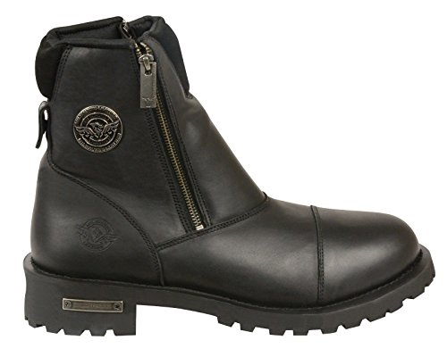 ... Herren Motorrad Stiefel aus reinem Leder Double Side Reißverschluss  schwarz Boot (8) ...