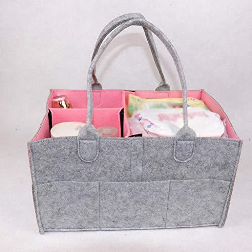 ❤️Jonerytime❤️Baby Diaper Wipes Bag Caddy Nursery Storage Bin Infant Nappy Organizer Basket (Pink)
