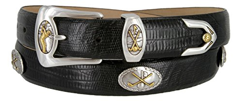 3 Piece Leather Concho Belt (Bayside- Italian Calfskin Leather Designer Dress and Golf Belt For Men)