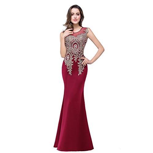 MisShow Women's Rhinestone Long Lace Formal Mermaid Evening Prom Dresses