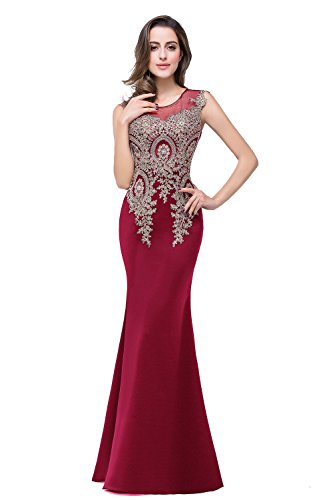 MisShow Women's Rhinestone Long Lace Mermaid Evening Dresses,Burgundy,Size - Prom Dresses Long Mermaid Red