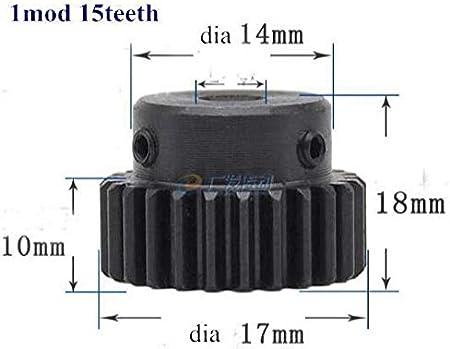 Spur Gear Pinion 15teeth 16teeth 17teeth Mod 1 M=1 Bore 4mm-8mm Right Teeth Steel CNC Gear Transmission Industry RC Car Hole Diameter : 8mm, Number of Teeth : 15 Teeth F-Jiujin-cl