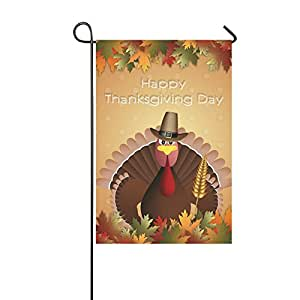 interestprint Happy día de Acción de Gracias con Turquía doble cara poliéster banderines de jardín 12X 18inch, cosecha de otoño caída hojas decorativa bandera de Jardín para Fiestas de decoración para el hogar