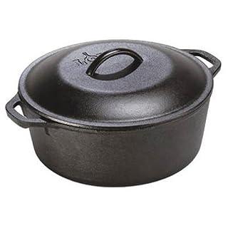 Lodge 5 Quart Cast Iron Dutch Oven. Pre-Seasoned Pot with Lid and Dual Loop Handle