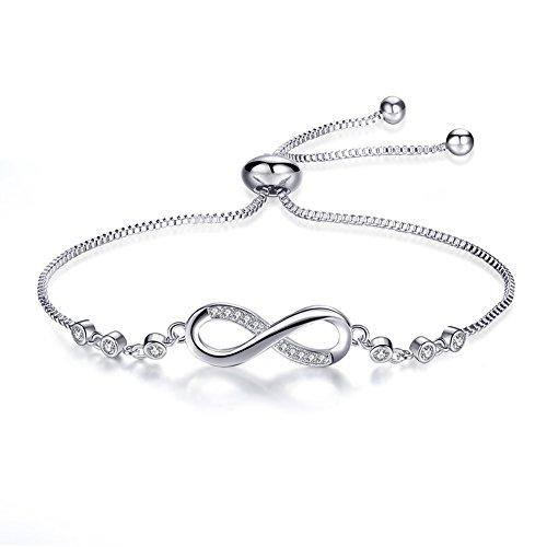 18k Fine Jewelry Bracelet All (Meangel Infinity Endless Love Symbol Bracelet for Women Girls Adjustable Charm Forever Bracelet)