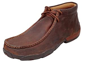 Twisted X Men's Driving Lace-Up Moccasin Shoes Round Toe Copper 7 D(M) US by Twisted X