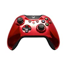"""""""Chrome Red & Black Leather"""" Xbox ONE Custom Modded Controller Exclusive Desi..."""
