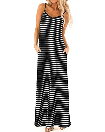 ZANZEA Womens Maxi Dress Casual Summer Beach Sundress Long Spaghetti Strap Dress Black 16