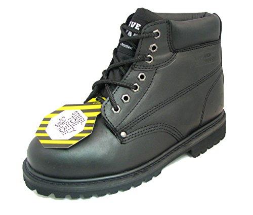Z-7626 Men's Steel Toe Work Boots Black Leather 6
