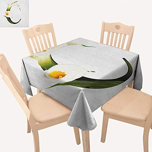 longbuyer Letter C Printed Tablecloth White Lily Flower Nature Inspirations Art Alphabet Letter C ABC Print Square Tablecloth Green Pale Orange Black W 36