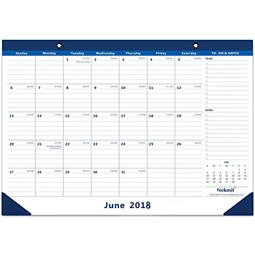 Nekmit 2019 Monthly Desk Pad Calendar, Runs from Now Through December 2019, Ruled Blocks, 17 x 12 Inches, Blue