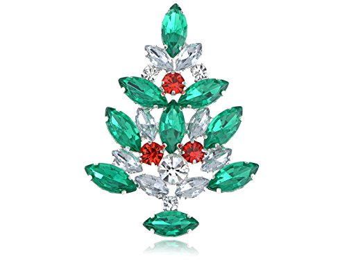Alilang Merry Christmas Emerald Green Crystal Gem Rhinestone Ornamental Tree Pin - Gem Pins