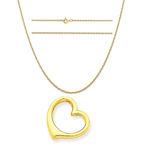 14k Yellow Gold 3-D Floating Heart Slide Pendant on 14K Yellow Gold Carded Rope Chain Necklace, 18