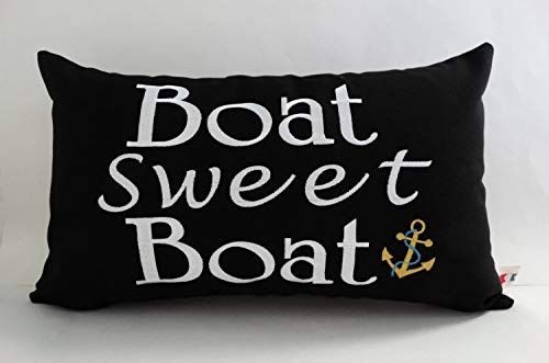 (alerie Sassoon Boat Sweet Boat Pillowcase Cover Sunbrella Indoor 12 x 20 Lumbar Boating Coastal Nautical Ocean Beach Canvas)