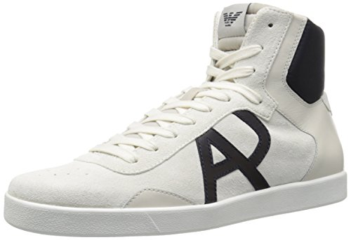 ARMANI JEANS Men's Classic AJ Logo HIGH TOP Sneaker Fashion, White, 43 EU/9.5 M US