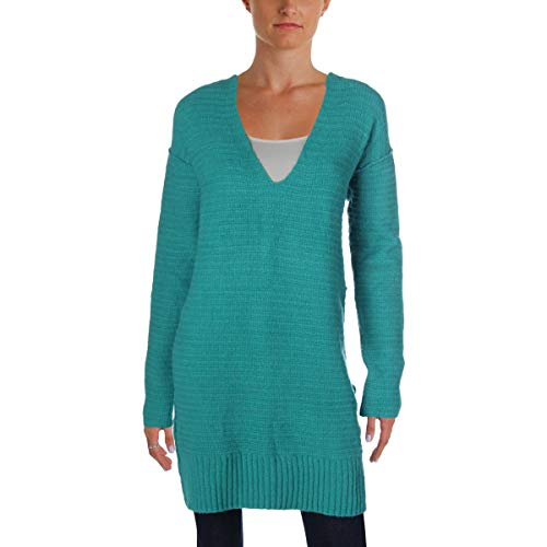 (Free People Womens Lace-Up V-Neck Pullover Sweater Blue XS)