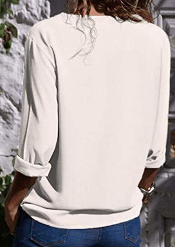 de Base Casual en Tops Femme Yeesea Tunique Bouton Shirt Vrac Blanc Longues Chemisier Manches UznqvRF