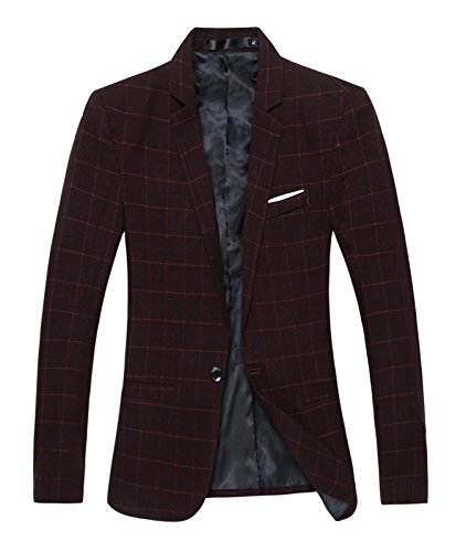 Benibos Mens Casual One Button Slim Fit Plaid Blazer Jacket (L, Burgundy) (Cotton Plaid Blazer)