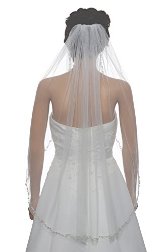 (1T 1 Tier Offset Flower Vine Edge Crystal Pearl Veil - Ivory Fingertip Length 36