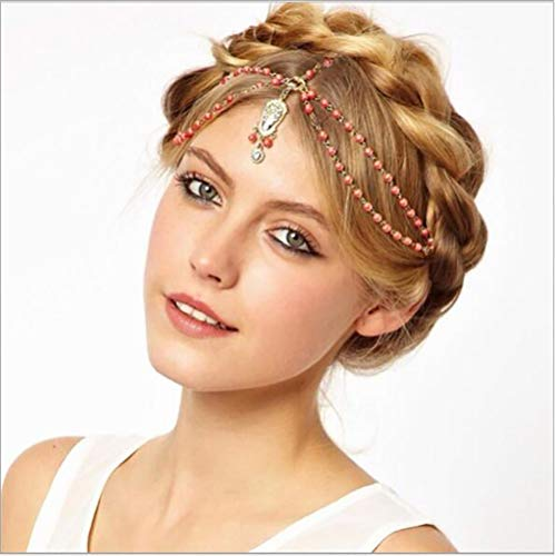Chargances Fashion Women Gold Headband with Red Beads Boho Gold Headband Head Chain for Wedding Prom Halloween Festival Weeding Hair Accessory Boho Delicate Beads Jewelry Gift for Women and Girls (Indian Gold Coin)