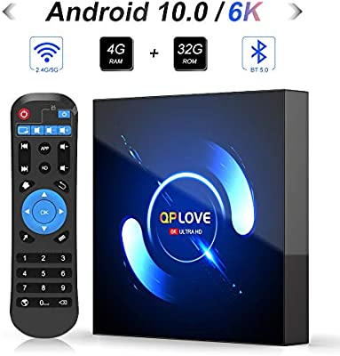 UKSoku Android 10.0, QPLOVE Q6 H616 Quad Core CPU 4 GB RAM 32 GB ROM Ultra HD 6K Resolución 2.4GHz 5G Dual WiFi Bluetooth 5.0 100M LAN Smart TV Box: Amazon.es: Electrónica