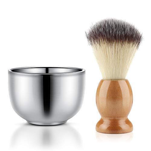 Shaving Cream Brush and Bowl, Beard Lather Brush, Beard Shaving Soap Cup, Segbeauty Nylon Bristles Hair Natural Crude Wood Handle Brush Stainless Steel Cream Bowl for Men, Traditional Wet Shaving Kit