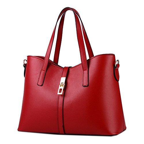 Rojo Mujere Oficina Capacidad Bolsos Gran Totalizador Hombro Oscuro Maletín De Moda Bolso Mensajero Deley Elegante Señoras 6zIqddOw
