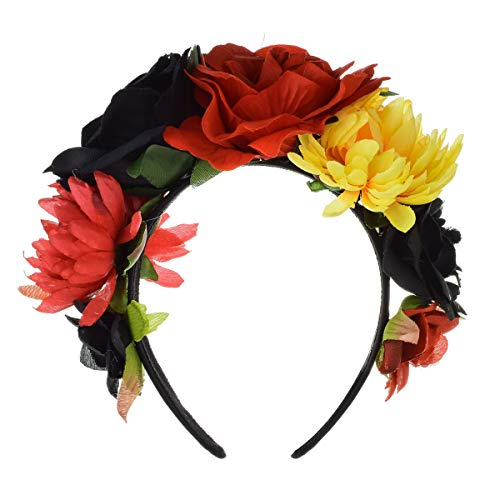 Floral Fall Day of The Dead Flower Crown Festival Headband Rose Mexican Floral Headpiece HC-23 (Red Black Yellow)]()