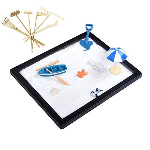 (BangBangDa Leisure Beach Style Zen Sand Table Meditation Zen Garden 6 Types of Bamboo rake Stress Relief Toys for Therapy Office Decor,Gifts for Teacher/Boss/Colleague/Child(Beach Zen Garden Sets))
