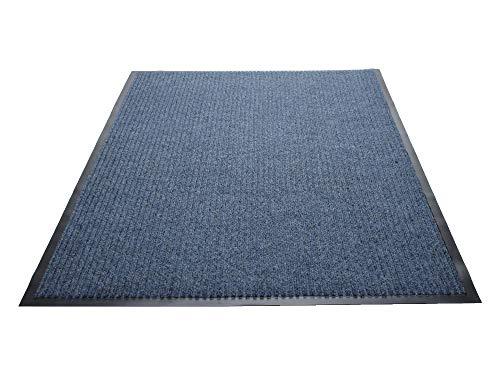 es Dual-Rib Indoor Wiper Floor Mat, Vinyl/Polypropylene, 3'x10', Blue ()