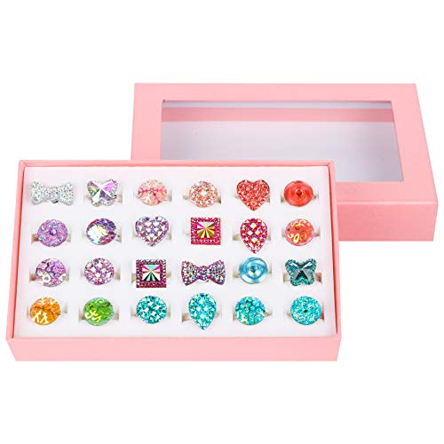 WATINC 24Pcs Adjustable Princess Pretend Jewelry Rings, Girl's Jewelry Dress Up Play Toys, Rhinestone Gift Set in Box for Little Girls, No Duplication Diamond Ring for Children, Party Favors for Kids ()