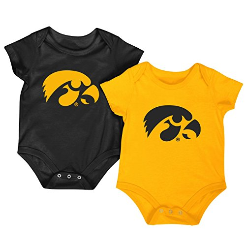 Colosseum NCAA Short Sleeve Bodysuit 2-Pack-Newborn and Infant Sizes-Iowa Hawkeyes-0-3 Months
