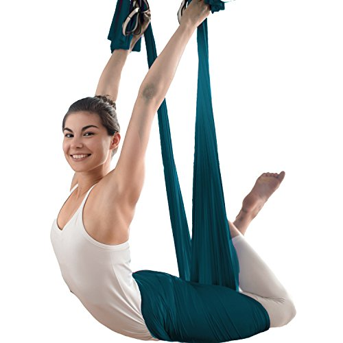 Premium Aerial Silk Yoga Swing Antigravity Yoga Inversion Exercises Aerial Yoga Hammock Extension Straps Improved Flexibility Core Strength Carabiners Pose Guide Included Inversion Equipment Exercise Fitness