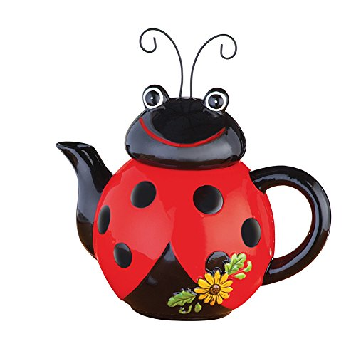 Loveable Ladybug Ceramic Kitchen Teapot, Red