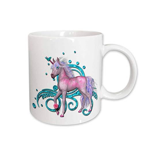 (3dRose SpiritualAwakenings Unicorns - Soft pastel pink unicorn and bright aqua accented scroll back - 15oz Mug (mug_317036_2) )