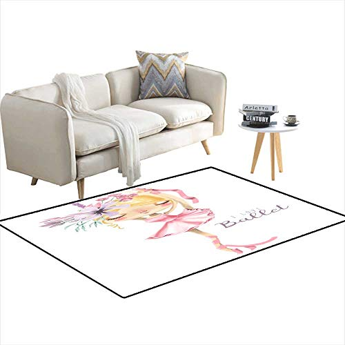 - Kids Carpet Playmat Rug Beautiful Ballet Girl Ballerina wi Flowers 3'x11'