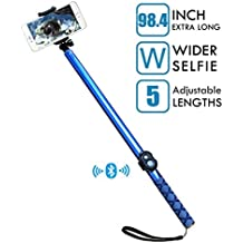 Bluetooth Long Selfie Stick- Super Length Lightweight Extendable Pole from 20'' to 98'' with Built-in Wireless Remote Shutter Grip Holder Mount for iPhone Samsung Galaxy All Android Cell