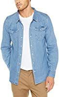 Wrangler Men's Harrison Ls Shirt, Washed Indigo, S