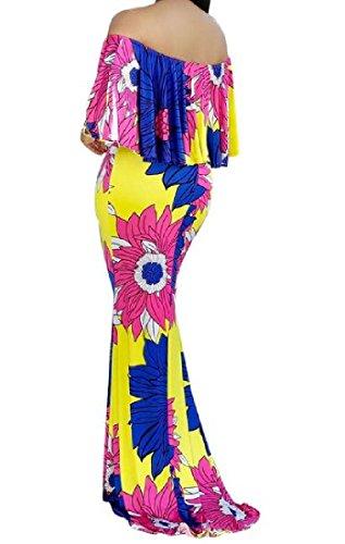 Yellow Women's Shoulder Dress Flounced Mop Coolred Off Premium Floor Maxi zpFxp6gwq