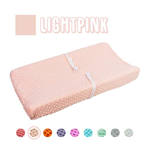 Queness Baby Changing Pad Cover, Ultra Soft Minky Dot Changing Table Pad Cover for Diaper Changing Pad, Change Table Sheets, Ideal Shower Gift for Newborn Girls and Boys (LightPink)